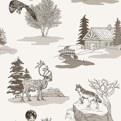 Winter Nature and Wildlife Toile de Jouy Seamless Pattern