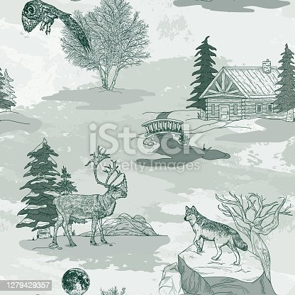 istock Winter Nature and Wildlife Toile de Jouy Seamless Pattern 1279429357