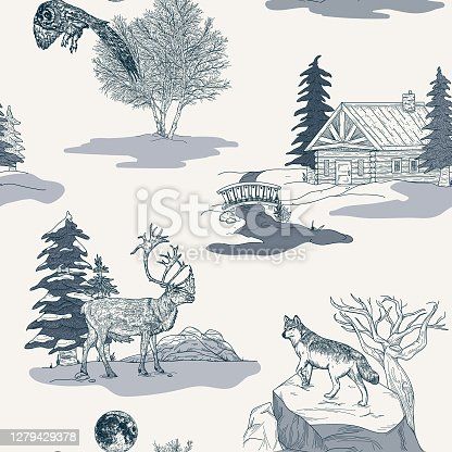 istock Winter Nature and Wildlife Toile de Jouy Seamless Pattern 1279429378