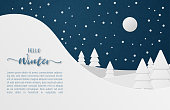 Winter nature forest and mountain landscape with Moon in the night and snow fall in paper cut style.