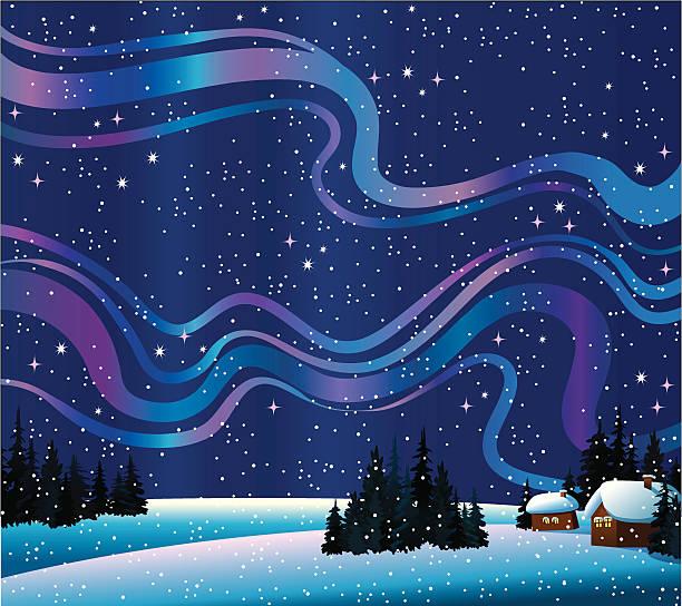 Natureza de inverno com luzes do norte e casas - ilustração de arte em vetor