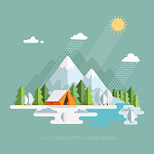 Winter, New Year, Christmas Landscape. Morning view in the mountains. Solitude in nature by the river. Weekend in the tent. Hiking and camping. Vector flat illustration