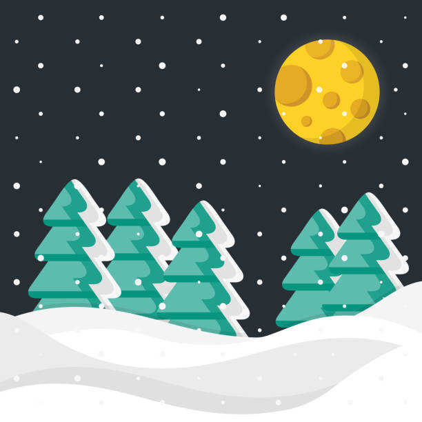 Winter night. Christmas trees, snow, snowdrifts and moon. Vector winter background Winter night. Christmas trees, snow, snowdrifts and moon. Vector winter background snowdrift stock illustrations