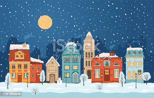 Winter night city in retro style. Christmas background with houses, moon, snowman. Cozy town in a flat style. Cartoon vector illustration.