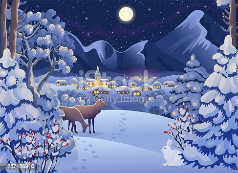 istock Winter night forest landscape with deers,  rabbit, village, mountains, moon and starry sky. Vector drawing illustration in cartoon style. Horizontal background. Christmas card. 1257156910