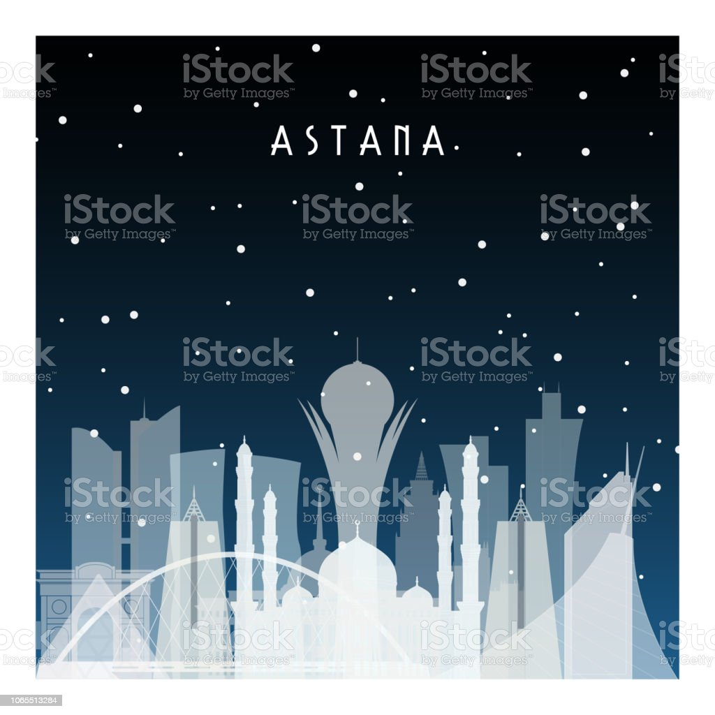 Winter night in Astana. Night city in flat style for banner, poster, illustration, background. vector art illustration