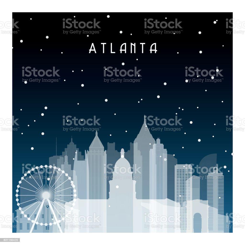アトランタでの冬の夜バナーポスターイラストゲーム背景のフラット