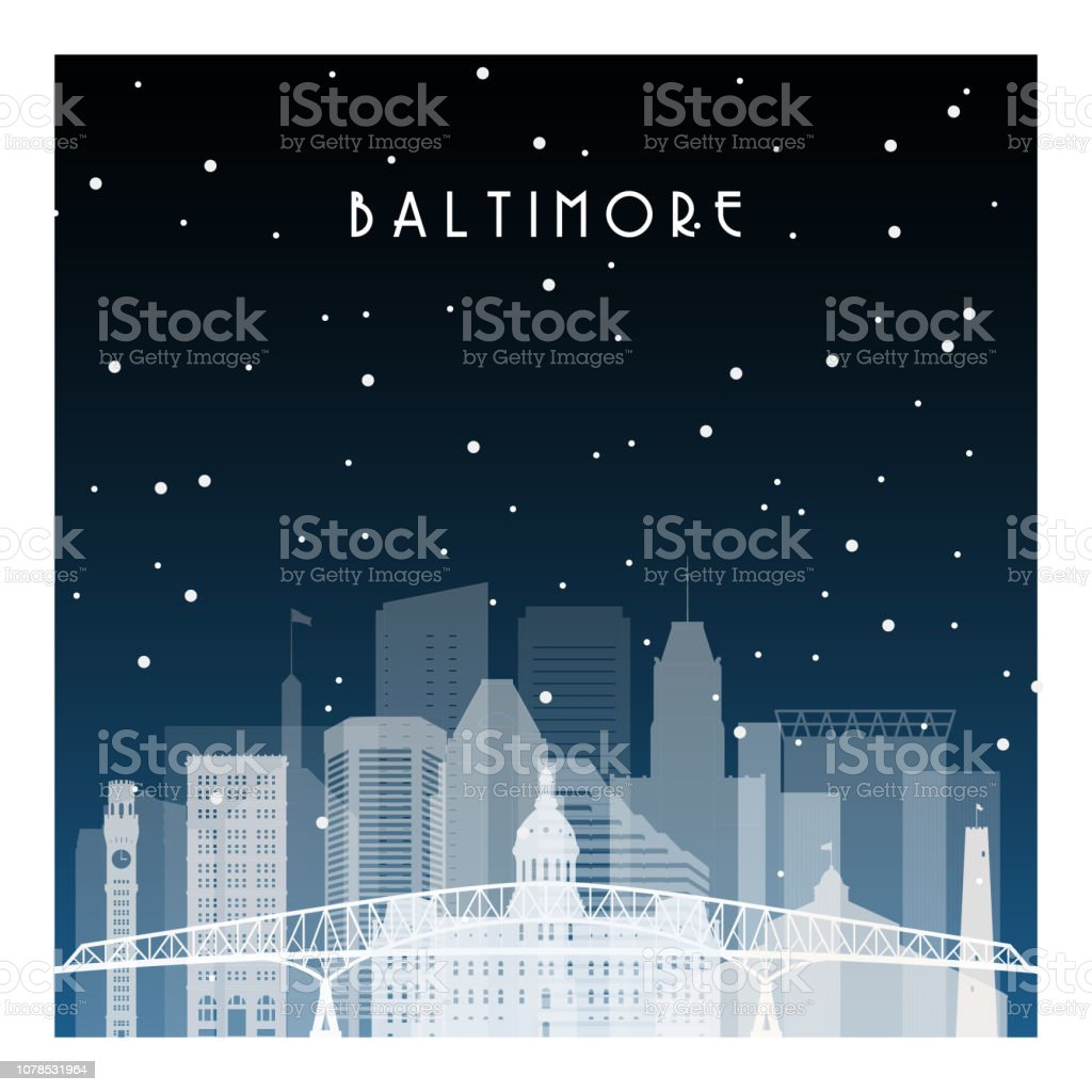 Winter night in Baltimore. Night city in flat style for banner, poster, illustration, background. vector art illustration