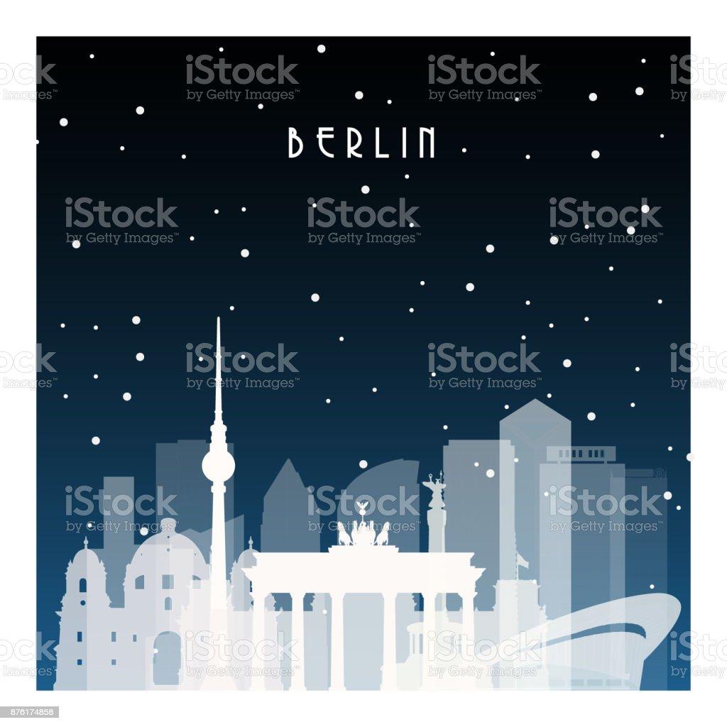 Winternacht in Berlin. Nächtliche Stadt im flachen Stil für Banner, Plakat, Illustration, Spiel, Hintergrund. – Vektorgrafik