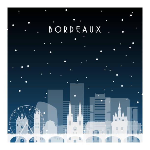 Nuit d'hiver à Bordeaux. Ville de nuit dans un style plat à fond, illustration, affiche, bannière. - Illustration vectorielle