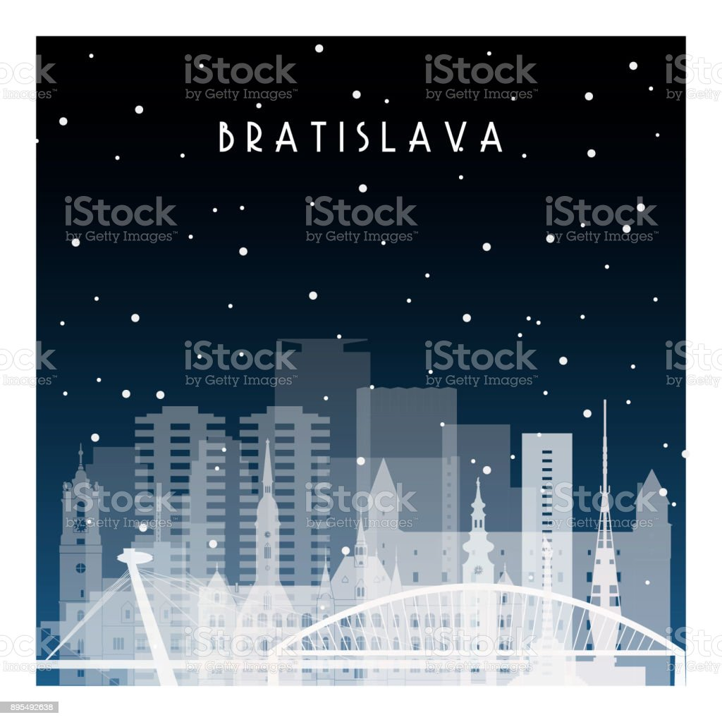 Winter night in Bratislava. Night city in flat style for banner, poster, illustration, background. vector art illustration