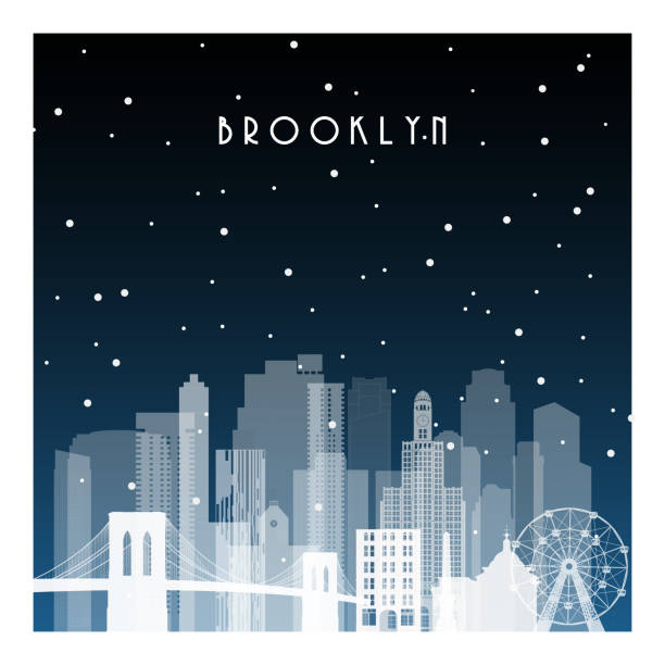 Winter night in Brooklyn. Night city in flat style for banner, poster, illustration, background. Winter night in Brooklyn. Night city in flat style for banner, poster, illustration, background. black white snow scene silhouette stock illustrations