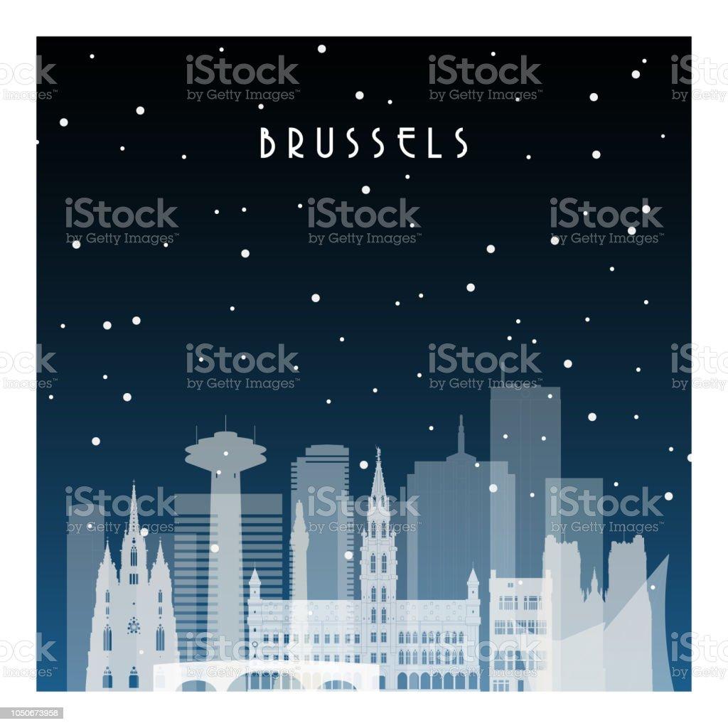 Noche de invierno en Bruselas. Ciudad de la noche en plano estilo de cartel, Ilustración, bandera, fondo. - ilustración de arte vectorial