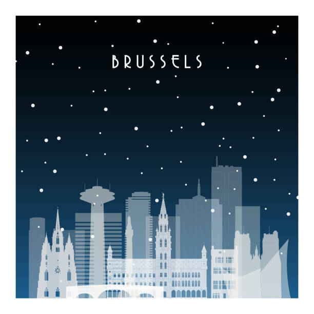 Winter night in Brussels. Night city in flat style for banner, poster, illustration, background. Winter night in Brussels. Night city in flat style for banner, poster, illustration, background. black white snow scene silhouette stock illustrations