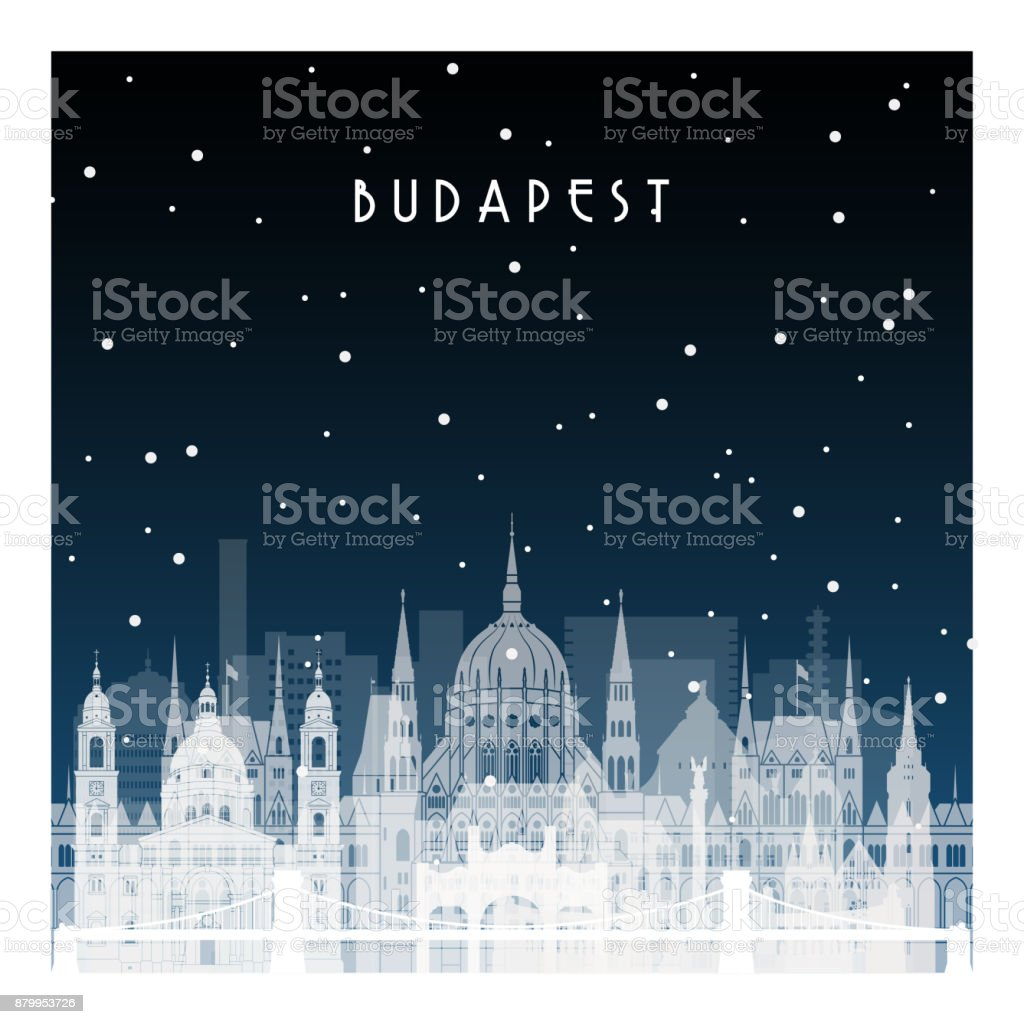 Winternacht in Budapest. Nächtliche Stadt im flachen Stil für Banner, Plakat, Illustration, Spiel, Hintergrund. – Vektorgrafik