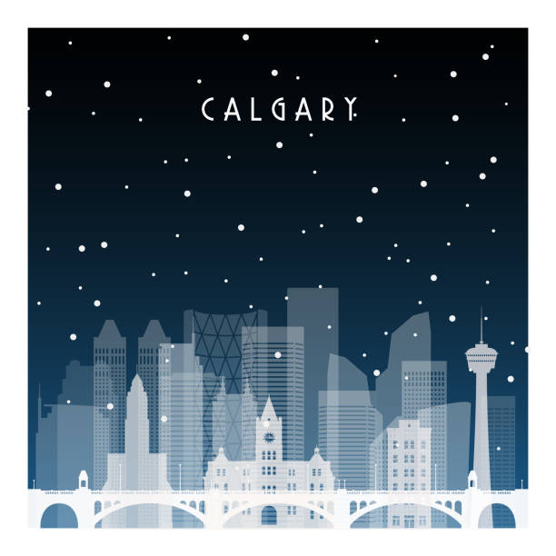 Winter night in Calgary. Night city in flat style for banner, poster, illustration, background. Winter night in Calgary. Night city in flat style for banner, poster, illustration, background. black white snow scene silhouette stock illustrations