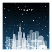 Winter night in Chicago. Night city in flat style for banner, poster, illustration, game, background.