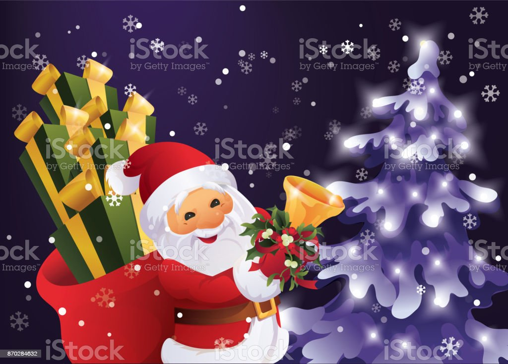 Winter night in Christmas forest. Santa Claus with gift bag and bell in hand. vector art illustration
