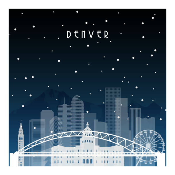 Winter night in Denver. Night city in flat style for banner, poster, illustration, background. Winter night in Denver. Night city in flat style for banner, poster, illustration, background. black white snow scene silhouette stock illustrations