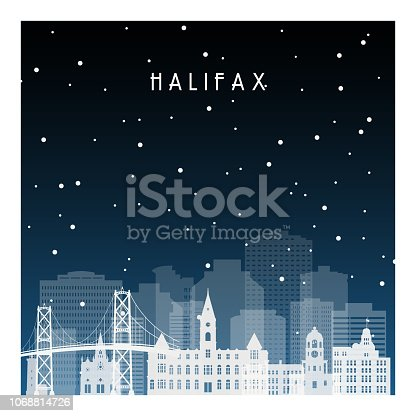 Winter night in Halifax. Night city in flat style for banner, poster, illustration, background.