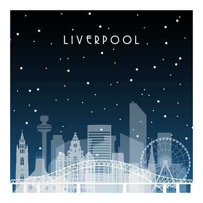 Winter night in Liverpool. Night city in flat style for banner, poster, illustration, background.