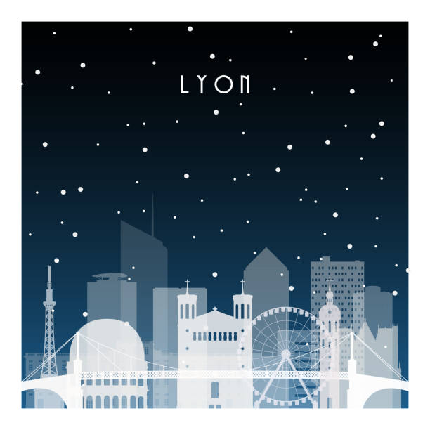 Winter night in Lyon. Night city in flat style for banner, poster, illustration, background. Winter night in Lyon. Night city in flat style for banner, poster, illustration, background. black white snow scene silhouette stock illustrations
