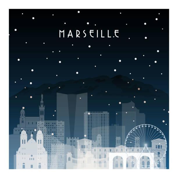 stockillustraties, clipart, cartoons en iconen met de winternacht in marseille. de stad van de nacht in vlakke stijl voor banner, affiche, illustratie, spel, achtergrond. - marseille
