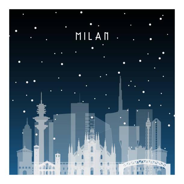 illustrazioni stock, clip art, cartoni animati e icone di tendenza di winter night in milan. night city in flat style for banner, poster, illustration, background. - milan