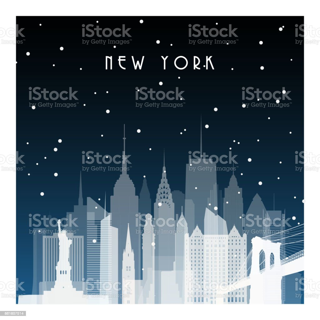 Winter night in New York. Night city in flat style for banner, poster, illustration, game, background. vector art illustration