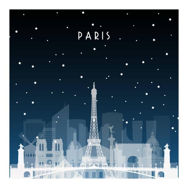 bildbanksillustrationer, clip art samt tecknat material och ikoner med vinternatt i paris. night city i platt stil för affisch, spel, illustration, banner, bakgrund. - paris