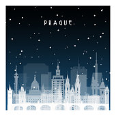 Winter night in Prague. Night city in flat style for banner, poster, illustration, game, background.