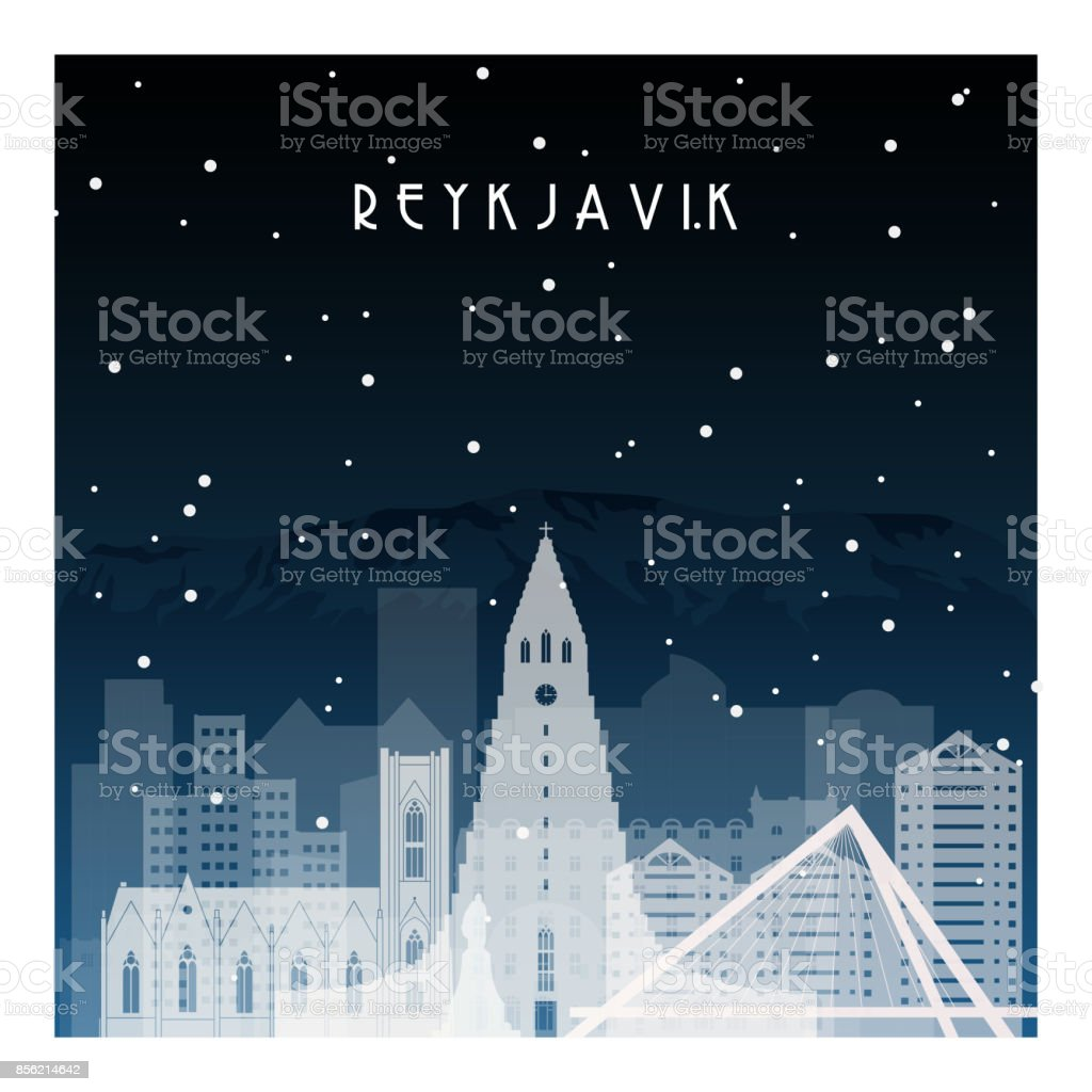 Winter night in Reykjavik. Night city in flat style for banner, poster, illustration, game, background. vector art illustration