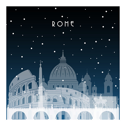Winter night in Rome. Night city in flat style for banner, poster, illustration, game, background.