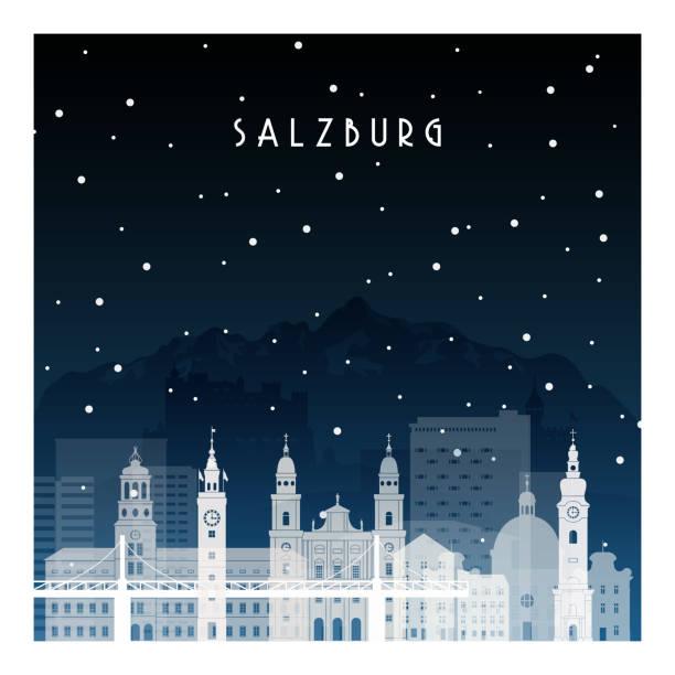 bildbanksillustrationer, clip art samt tecknat material och ikoner med vinternatt i salzburg. natt staden i platt stil för banderoll, affisch, illustration, bakgrund. - salzburg