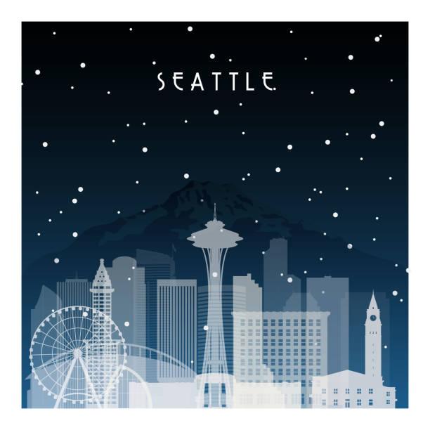 ilustraciones, imágenes clip art, dibujos animados e iconos de stock de noche de invierno en seattle. ciudad de la noche en plano estilo de cartel, ilustración, bandera, fondo. - seattle