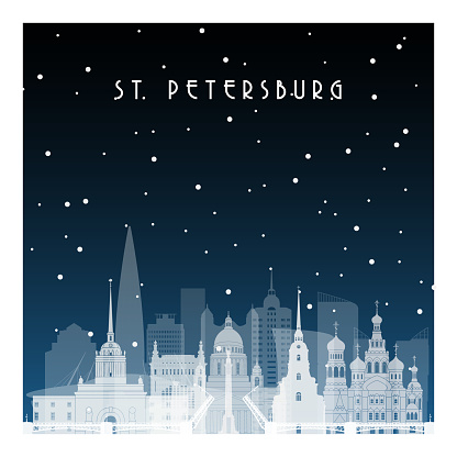Winter night in St. Petersburg. Night city in flat style for banner, poster, illustration, background.