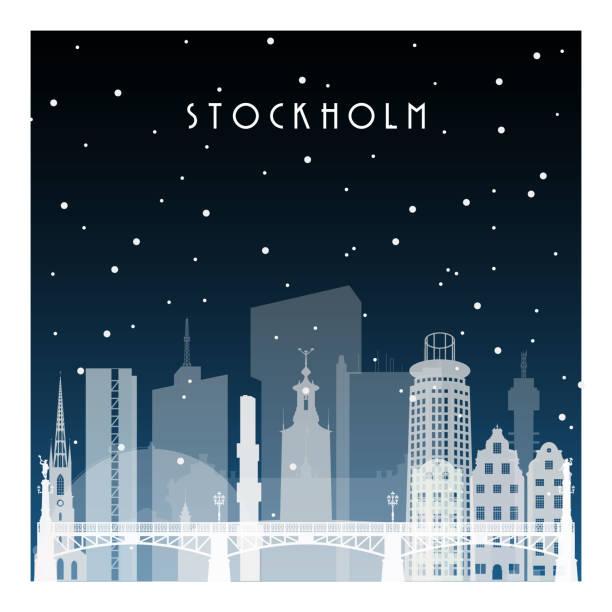 bildbanksillustrationer, clip art samt tecknat material och ikoner med vinternatt i stockholm. natt staden i platt stil för banderoll, affisch, illustration, bakgrund. - skyline stockholm