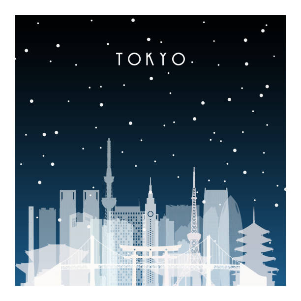 Winter night in Tokyo. Night city in flat style for banner, poster, illustration, game, background. Winter night in Tokyo. Night city in flat style for banner, poster, illustration, game, background. tokyo stock illustrations