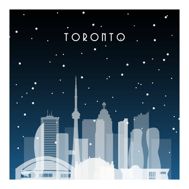 winter night in toronto. night city in flat style for banner, poster, illustration, game, background. - toronto stock illustrations
