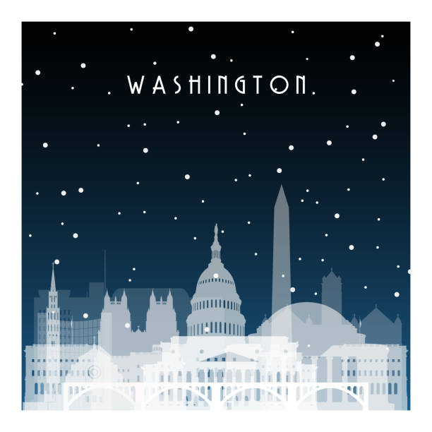 Winter night in Washington. Night city in flat style for banner, poster, illustration, game, background. Winter night in Washington. Night city in flat style for banner, poster, illustration, game, background. washington dc stock illustrations