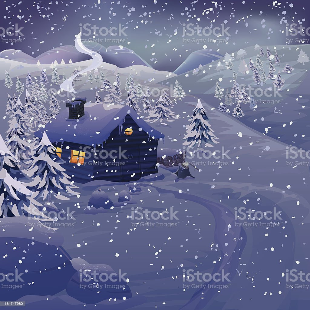 Winter night landscape royalty-free stock vector art