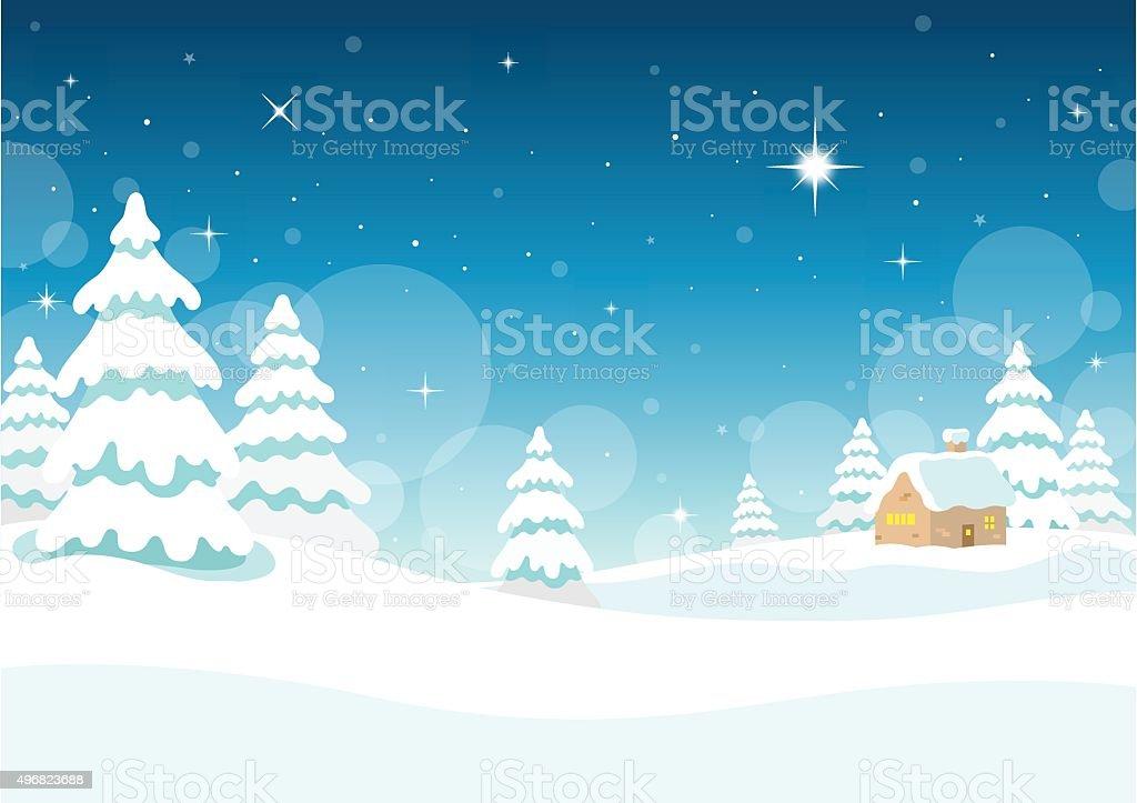Winter Night Landscape vector art illustration
