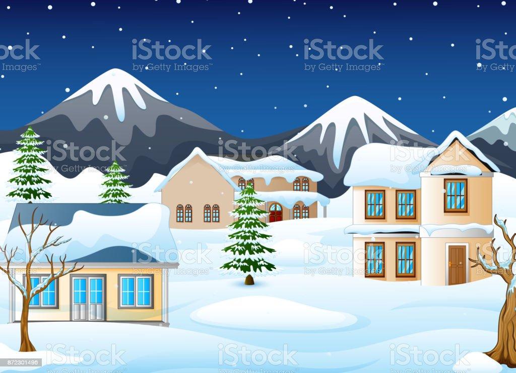 Dağlar Ve Karlı Ev Ile Kış Gece Manzarası Stok Vektör Sanatı Akşam