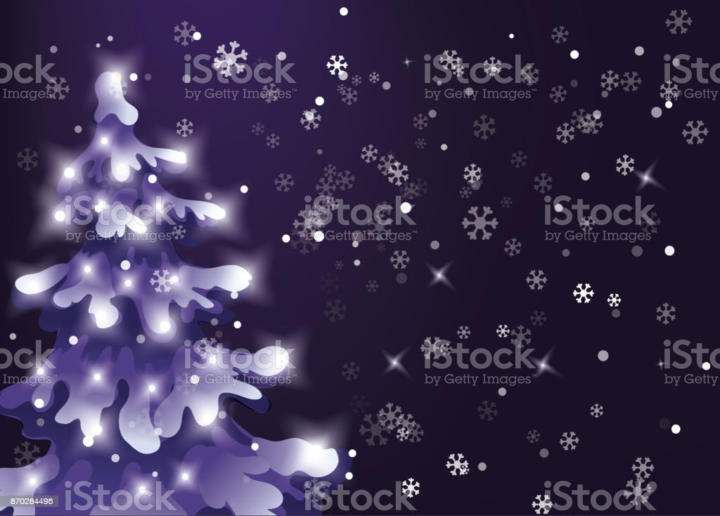 Winter night sky. snow is falling. Showfall. pine snowy tree with holiday lights vector art illustration