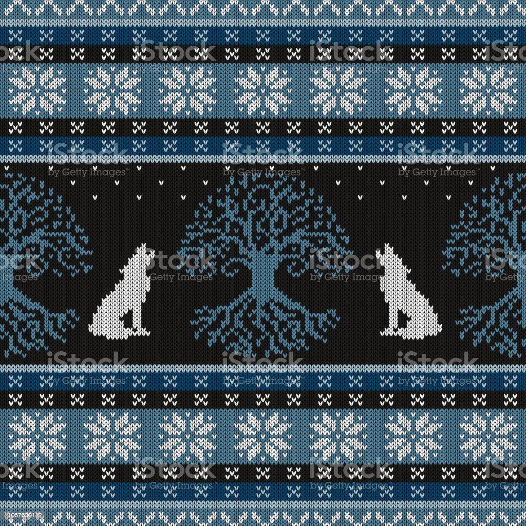 Noche de invierno, árbol de la vida y lobos aulladores. Punto de lana patrones sin fisuras - ilustración de arte vectorial