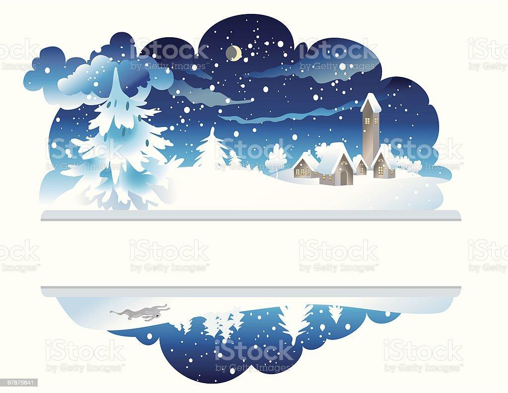 Winter nighttime landscape royalty-free stock vector art