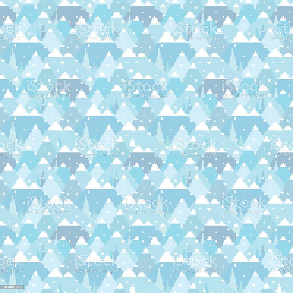 Winter nordic geometric digital mountain landscape seamless pattern - Illustration vector art illustration