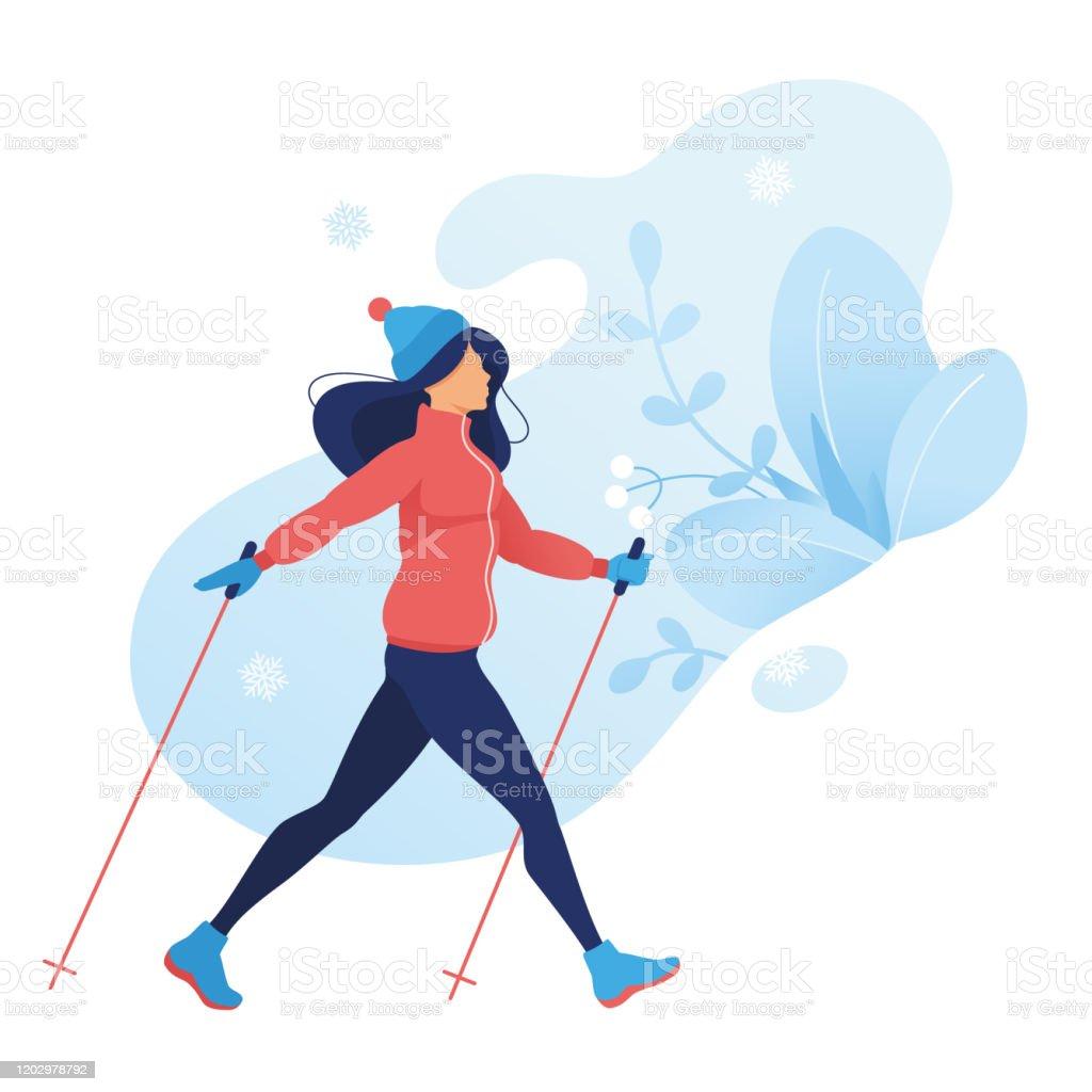 Exercice De Sport De Marche Nordique Dhiver Femmes Dans Des