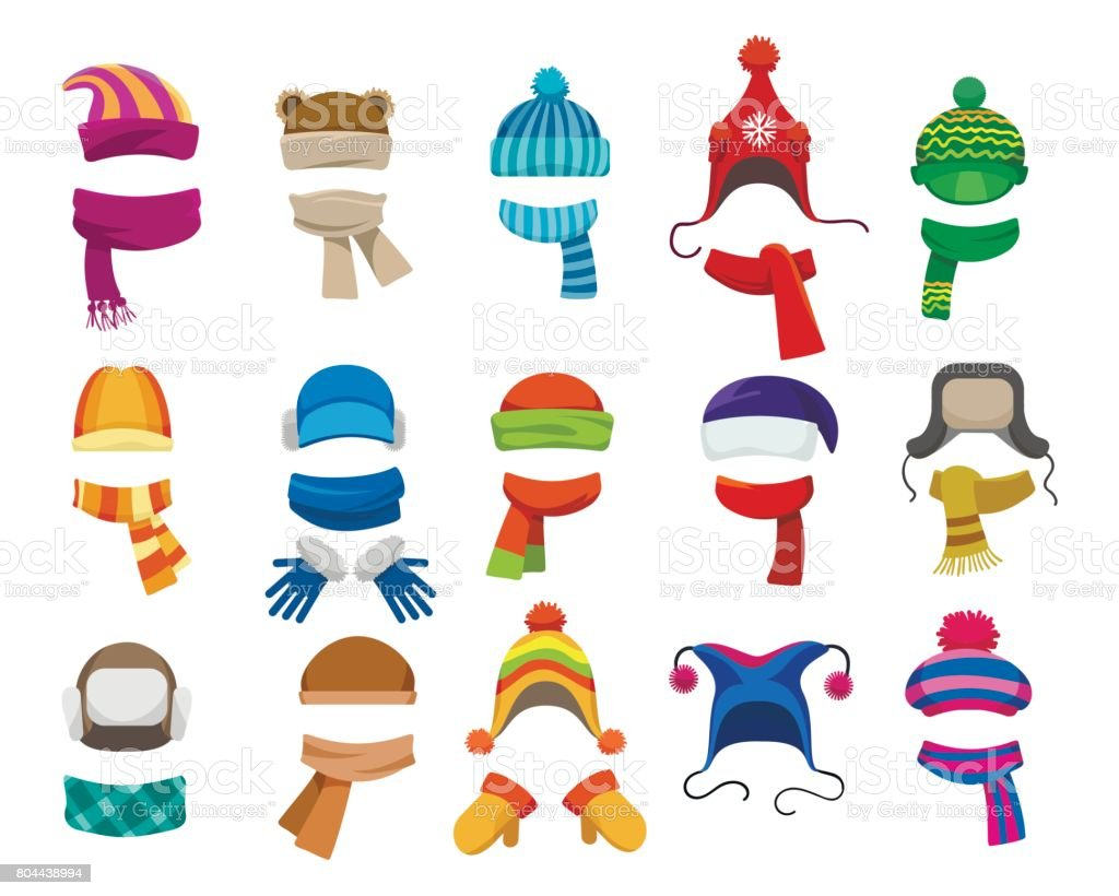 Winter or autumn headwear collection vector art illustration