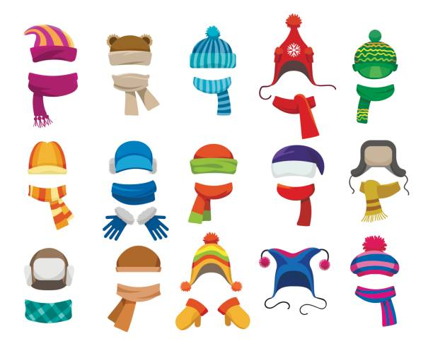 winter or autumn headwear collection - winter fashion stock illustrations, clip art, cartoons, & icons